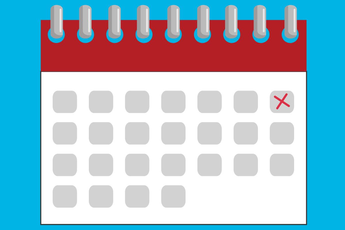 calendário com contagem de dias para conta ser reativada