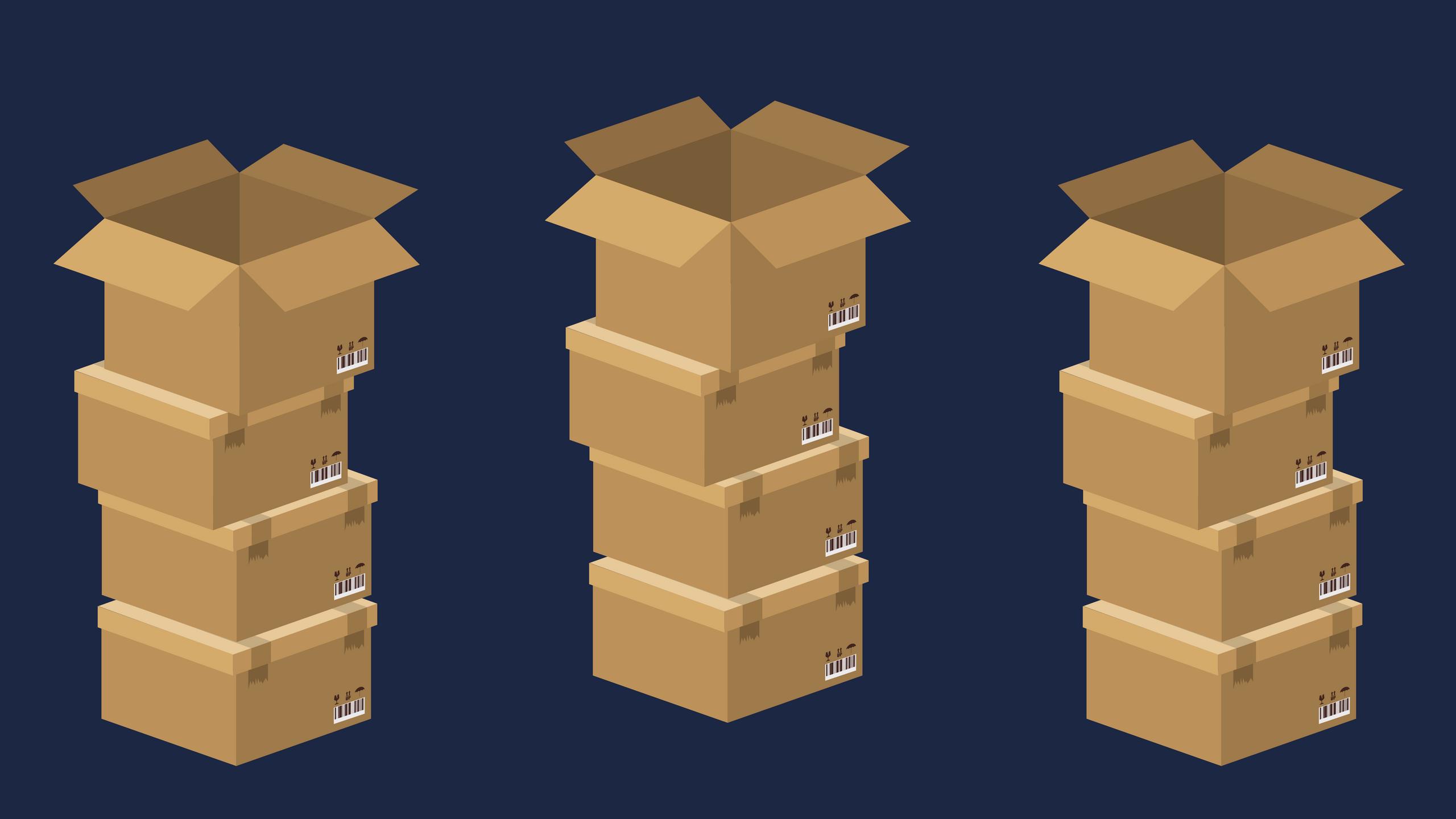 como fazer controle de estoque - pilhas de caixas vazias