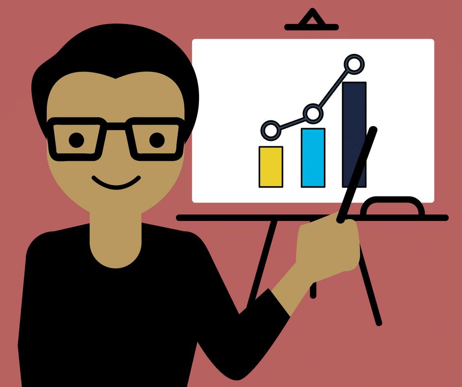 palestras imperdíveis - arte de um palestrante apontando para um gráfico