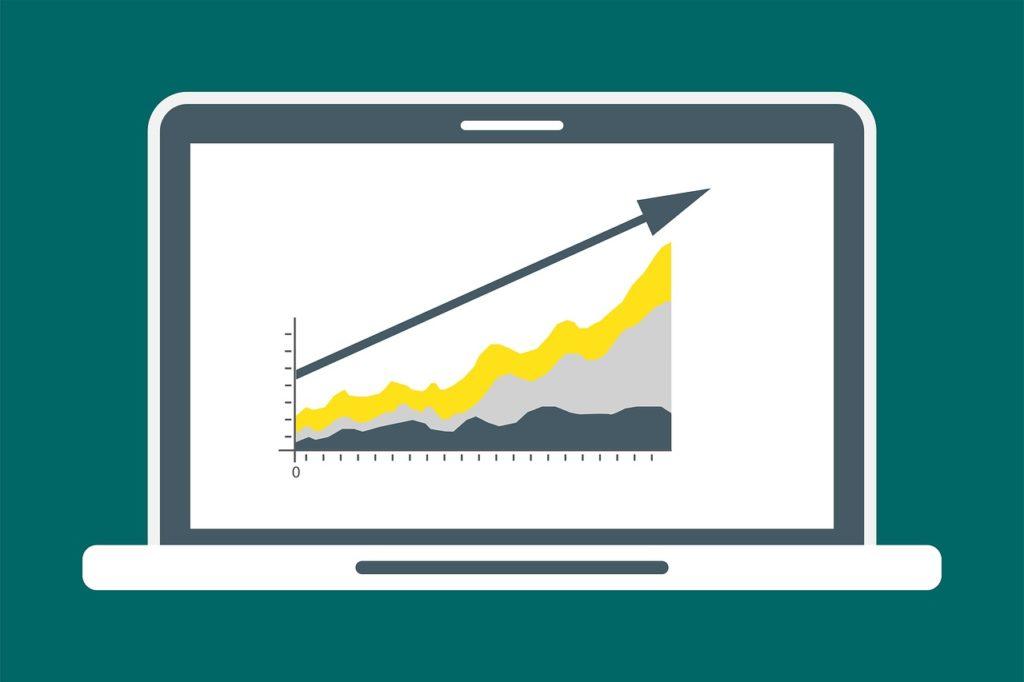 arte com gráfico referenciando o aumento das vendas como remarketing