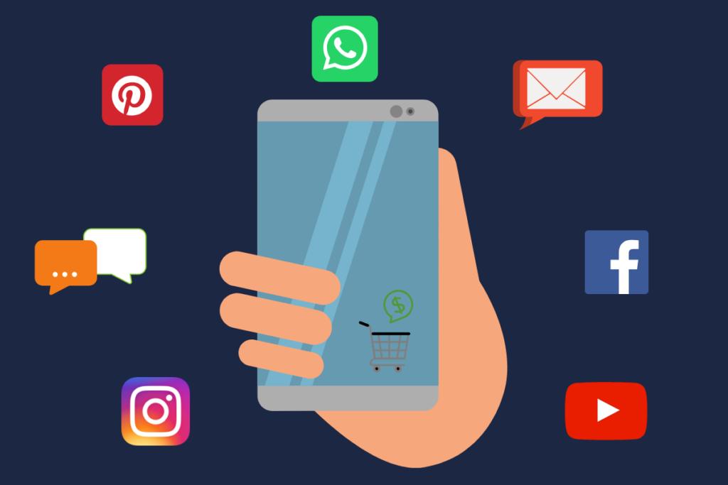 celular na mão mostrando os aplicativos onde pode enviar link de pagamento