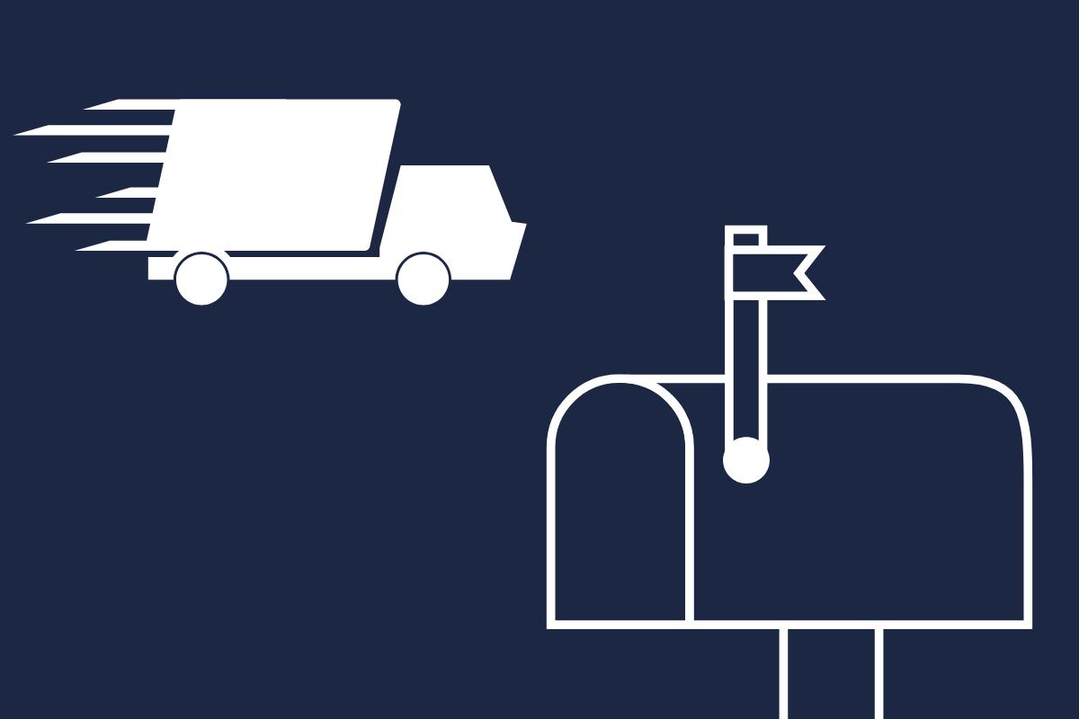 logística reversa - caminhão de entrega e caixa de correio