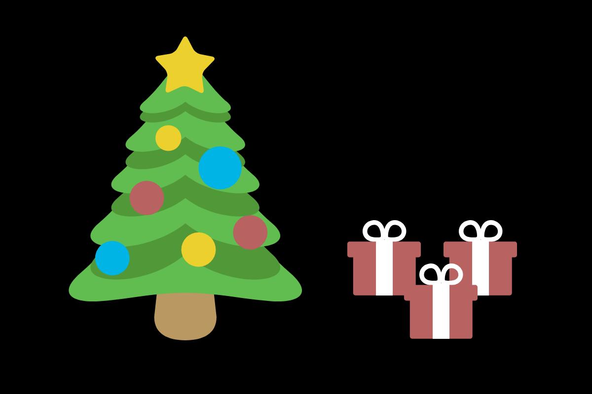 presentes de natal na árvore de natal