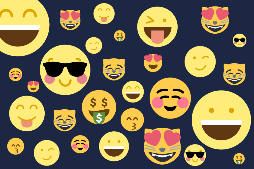 fidelização de clientes - emojis variados