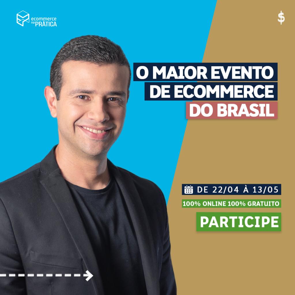 Banner com convite para Semana do Ecommerce. Nele, Bruno de Oliveira aparece em frente a um fundo bege.
