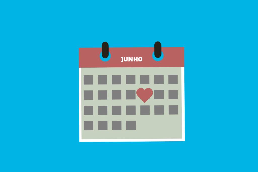 calendário de dia dos namorados em junho