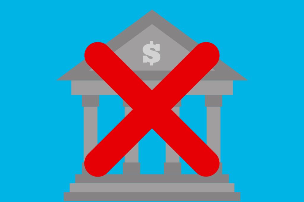 imagem que mostra um banco e um xis na frente, ilustrando que será livre do sistema bancário comum
