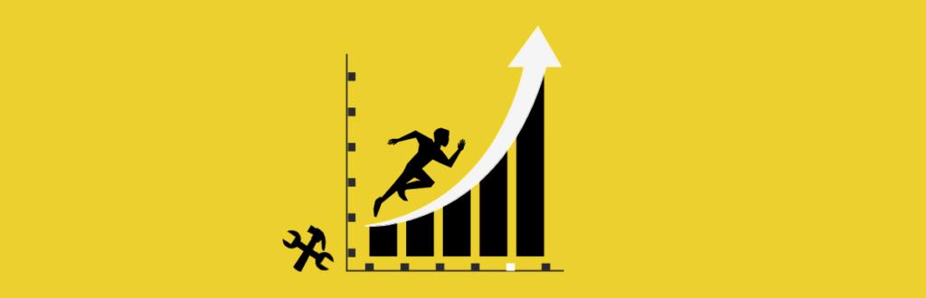 gráfico que mostra a curva de crescimento de quem impulsiona o negocio com ferramentas