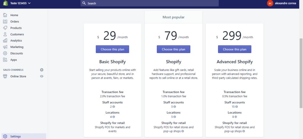 Preço Shopify