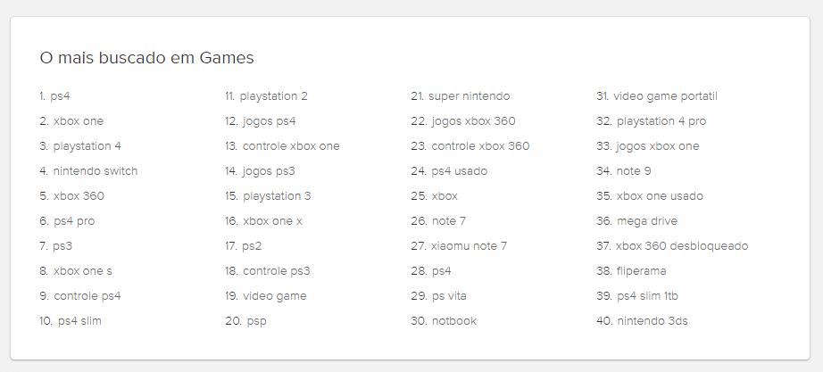 40 produtos mais vendidos na categoria games