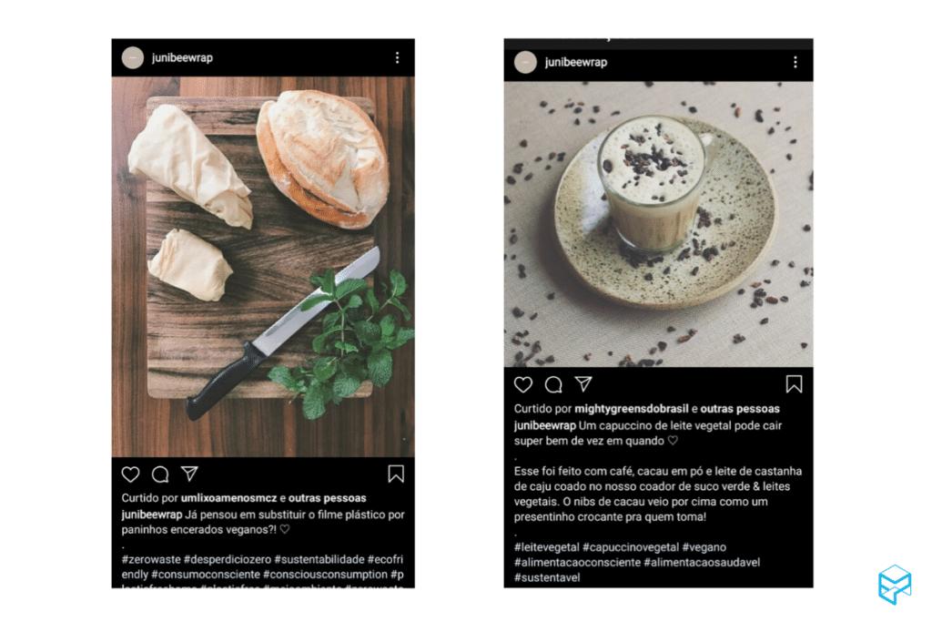 Exemplos de conteúdos que a Junibee posta dentro do Instagram: receitas e dicas.