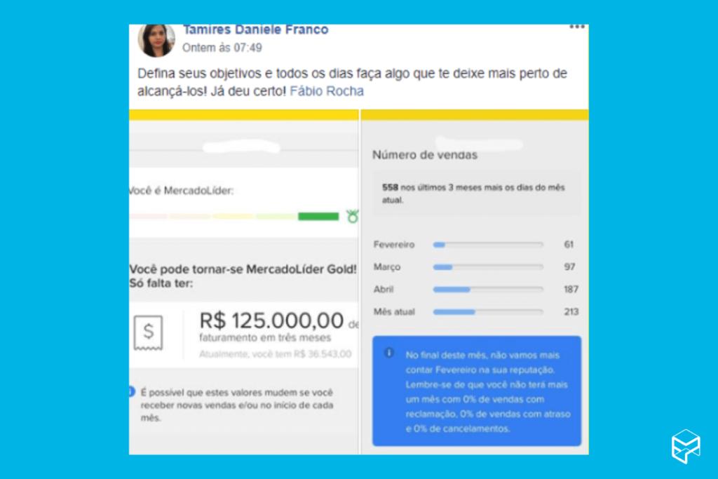 Postagem da Tamires Franco com print das suas vendas no Mercado Livre.