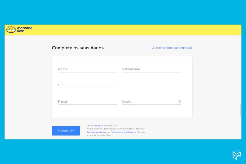 Dados pessoais - crie uma conta
