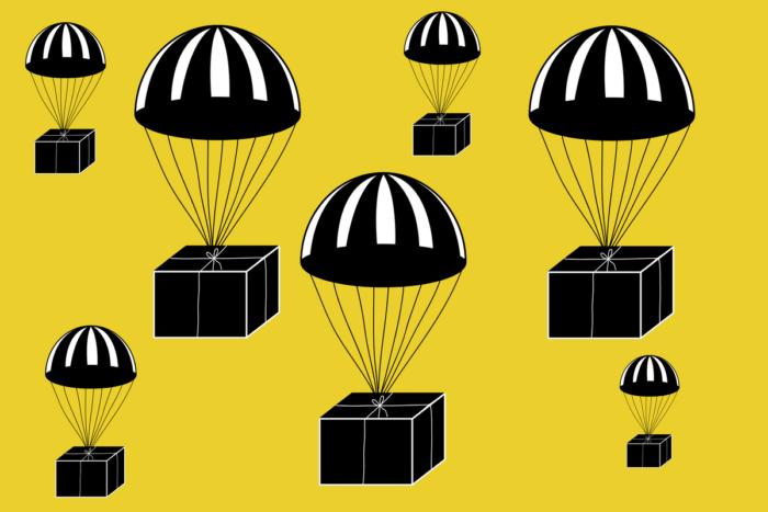 dropshipping ilegal - caixas caindo de paraquedas